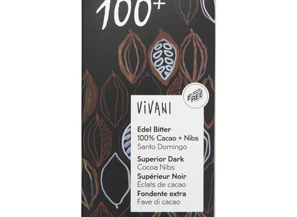 Chocolate: 100% Dark Chocolate & Cocoa Nibs