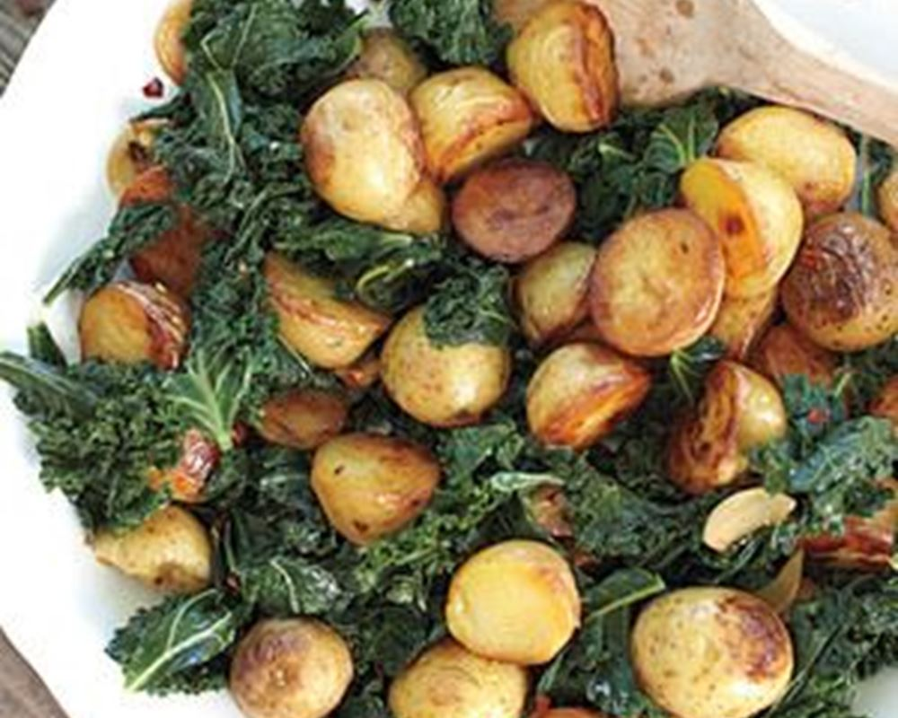 Skillet Potatoes w/ Greens