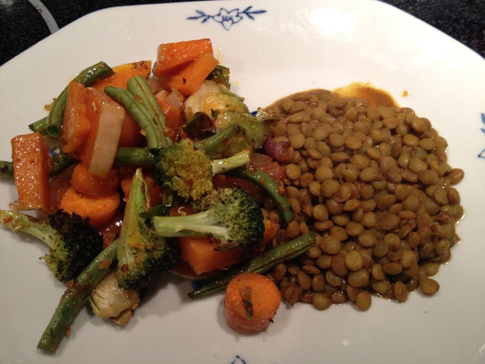 Curried Lentils with Roasted Veggies