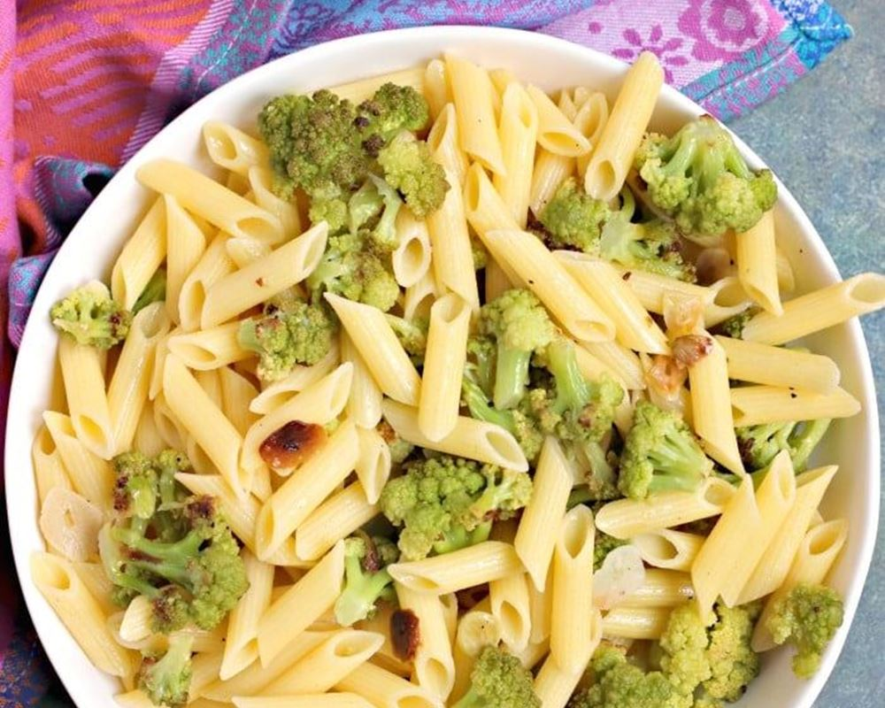 Penne Pasta with Roasted Romanesco