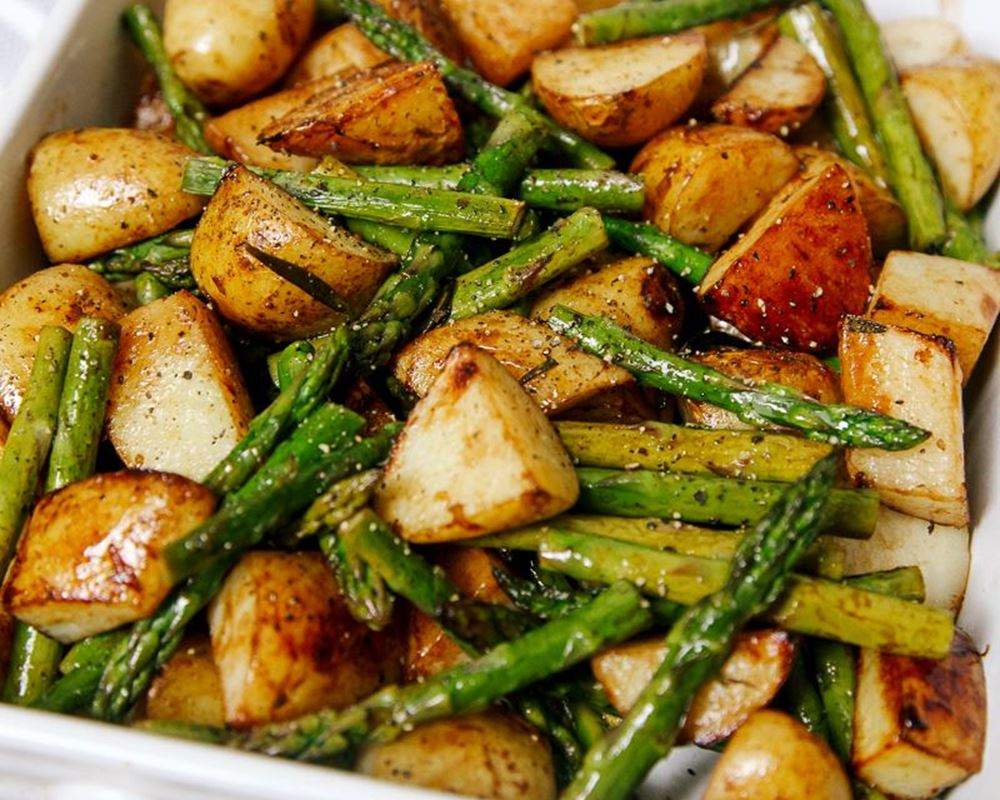 Balsamic Roasted Potatoes w/ Asparagus