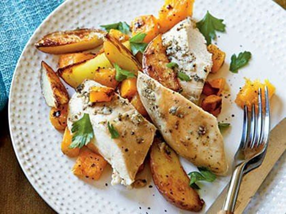 Roasted Chicken w/ Potatoes & Butternut Squash