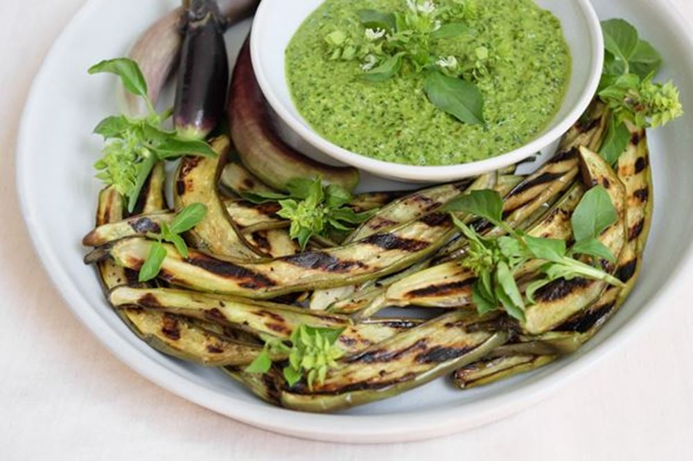 Grilled Eggplant With Spicy Basil Pesto