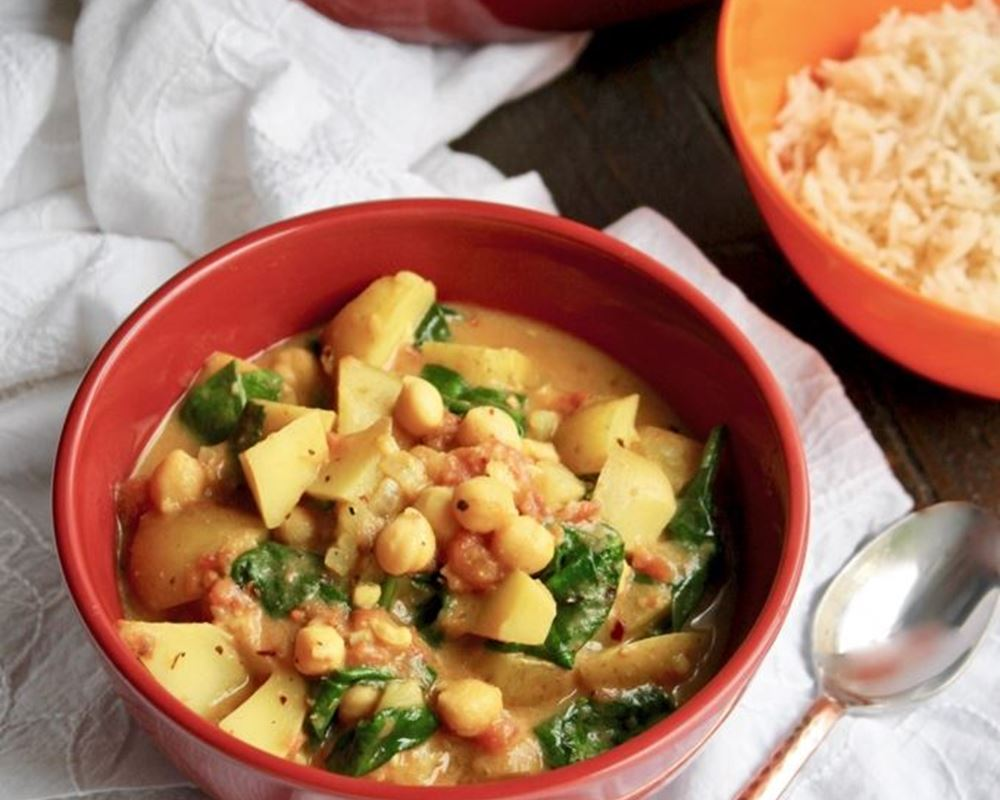 Potato, Chickpea & Spinach Curry