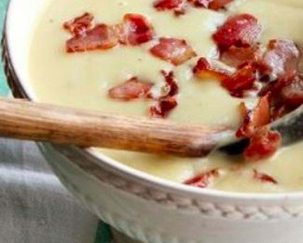 Creamy Celeriac & Sprout Soup with Bacon