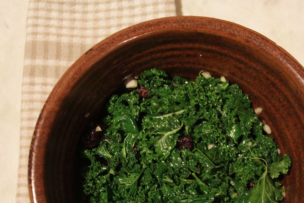 Kale, Cranberry and Garlic Salad