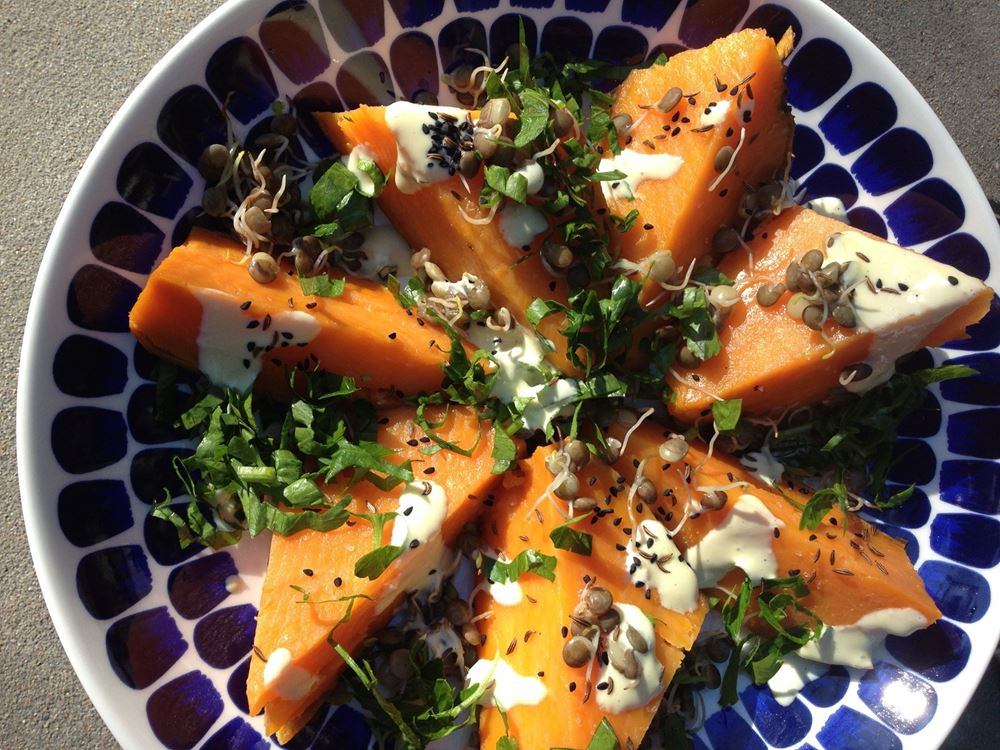 Roast Sweet Potato, Sprouted Lentils, Aioli, Nigella, Caraway