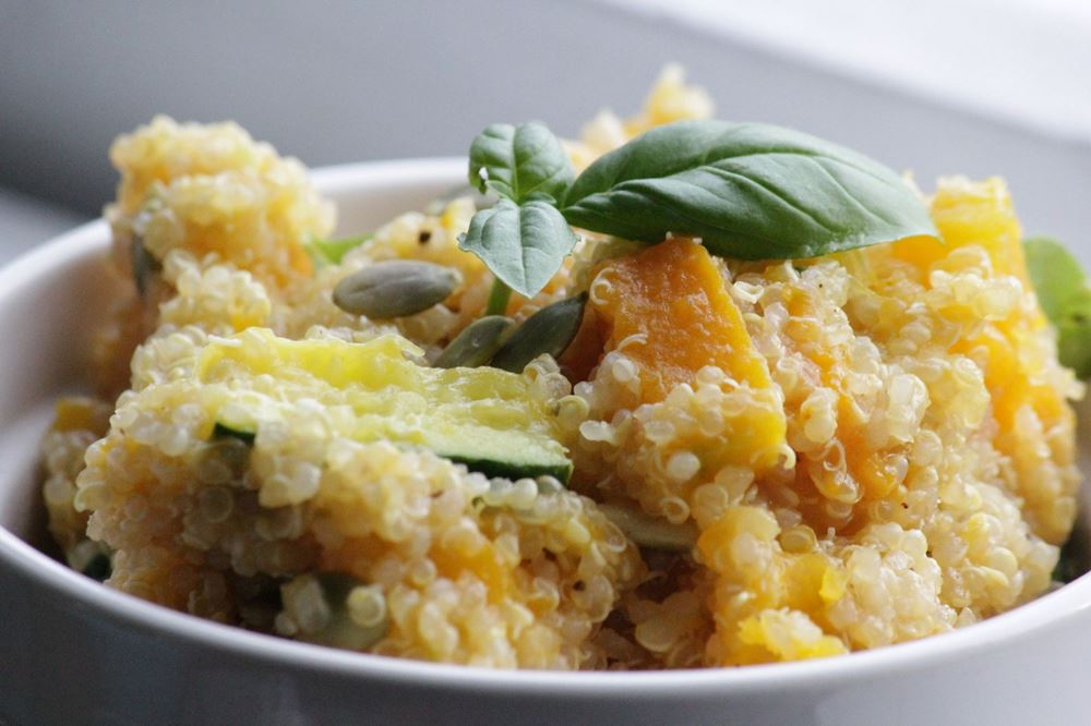 Pumpkin, Courgette & Quinoa Salad with Citrus Dressing