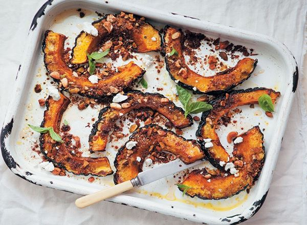 Hubbard Squash Slices with a Cinnamon and Nut Crust