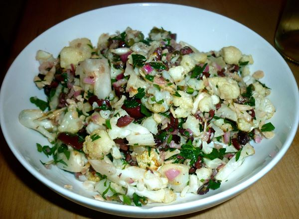 Cauliflower Olive -Caper and Parmesan Salad