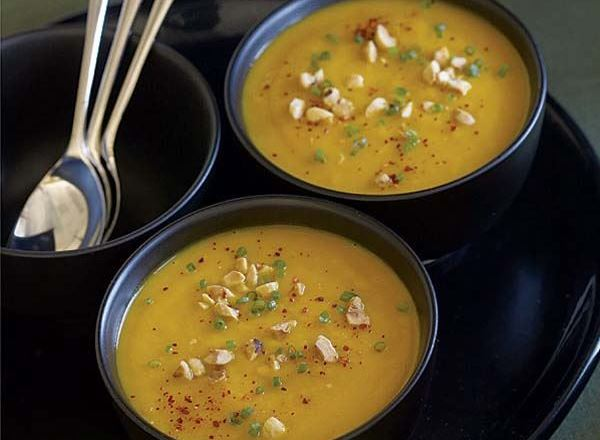 Roasted Hubbard Squash Soup with Hazelnuts & Chives