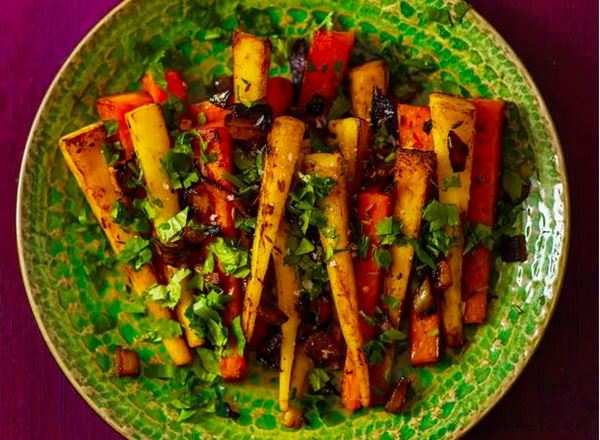 Pan-roasted parsnips and carrots with cumin butter