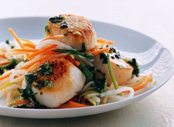 Scallops w/ Cilantro Sauce & Asian Slaw