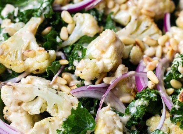 Roasted Cauliflower and Kale Salad with Lemon Tahini Dressing