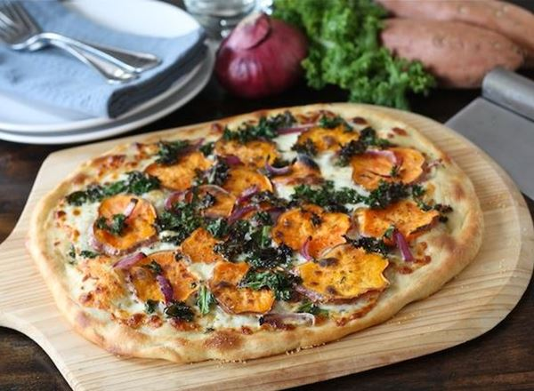 Sweet Potato Kale Pizza with Red Onion and Rosemary