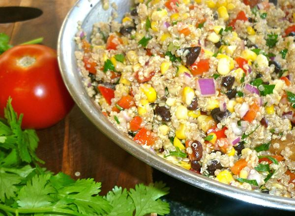Quinoa, Sweetcorn, Black Bean and Capsicum Salad