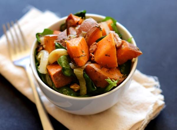Sweet Potatoes & Warm Spinach Salad