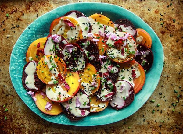Roasted Beets with Tahini Lemon Dressing