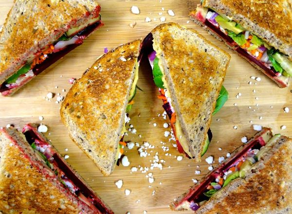Warmed Beet & Goat Cheese Sandwiches