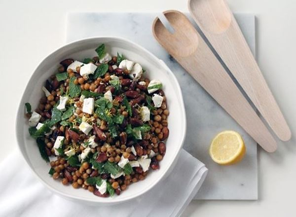 Garlic Roast Chickpeas with Almonds, Feta, Mint and Lemon