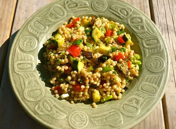 Eggplant, Red Capsicum, Zucchini and Pearl Couscous Salad with Tahini Dressing