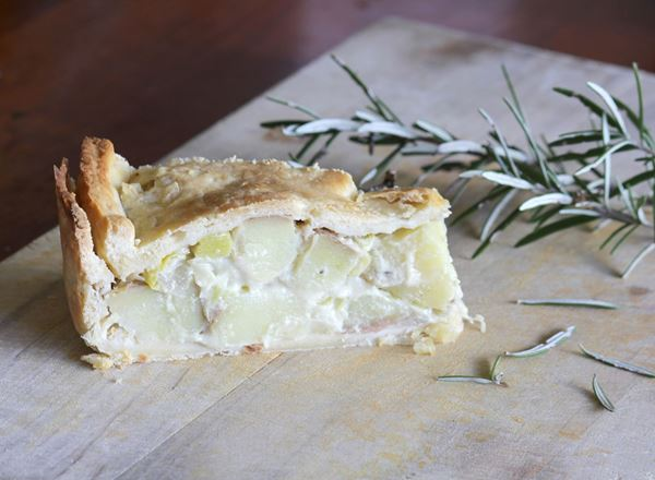 Leek and Potato Pie with Garlic Cashew Cream