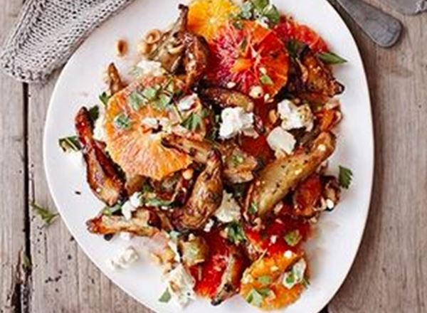 Warm artichoke, blood orange & feta salad