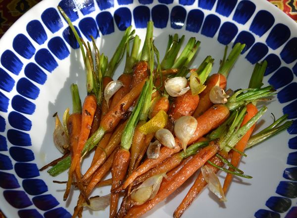 Pan Roasted Baby Carrots with Whole Garlic Cloves, Cumin Seed and Lemon Peel