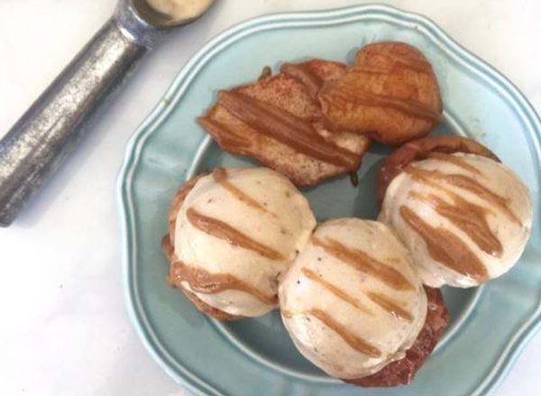 Baked Apples & Pears w/ Caramel Drizzled Nice Cream