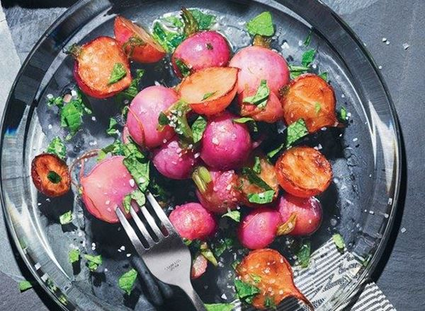 Simple Roasted Radishes with Brown Butter, Lemon, and Radish Tops