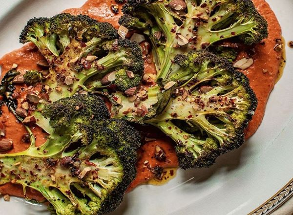Roasted Broccoli halves with Romesco