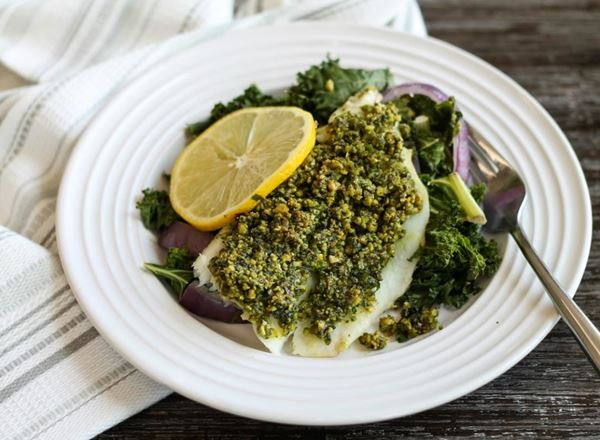 Pistachio Crusted Cod w/ Roasted Kale and Red Onions