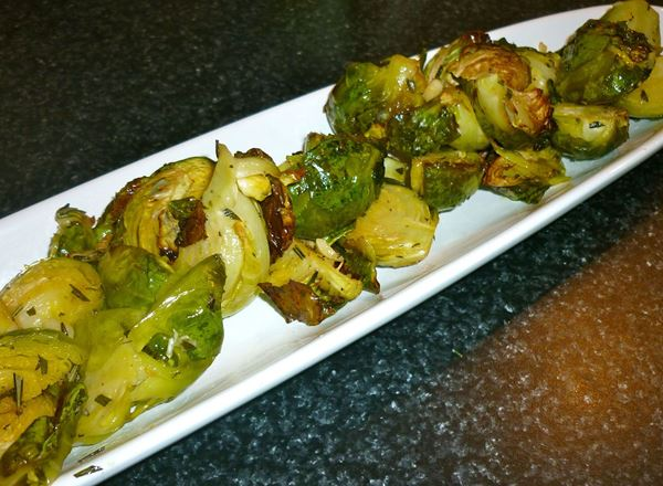 Brussels Sprouts Roasted with Garlic, Rosemary and Olive Oil