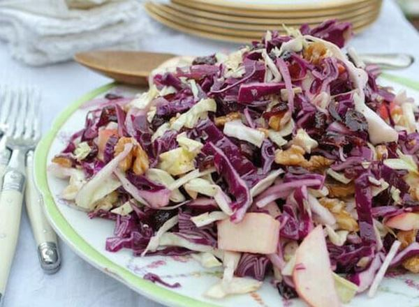 Cabbage Salad with Apples, Walnuts, and Cranberries