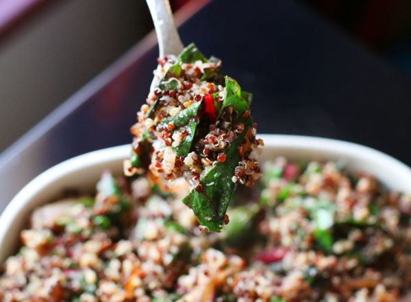 Quinoa w/ Caramelized Onions & Red Chard