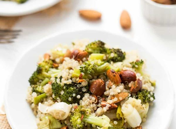 Roasted Leek & Broccoli Quinoa Salad with Chopped Almonds