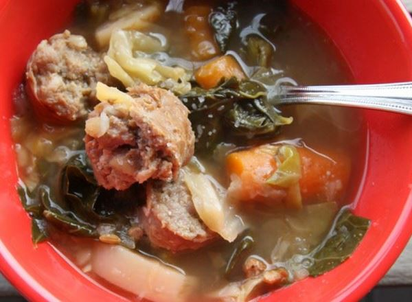 Cabbage, Collards, and Turnip Soup with Sausage
