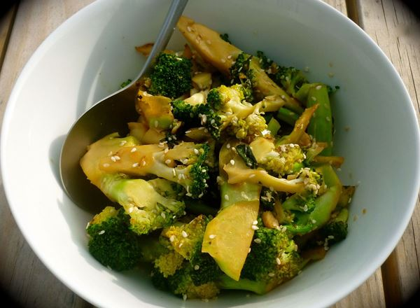 Broccoli Sauté with Ginger, Sesame and Tamari